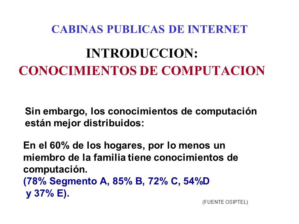 CABINAS PUBLICAS DE INTERNET INTRODUCCION: CONOCIMIENTOS DE COMPUTACION Sin embargo, los conocimientos de computación están mejor distribuidos: En el 60% de los hogares, por lo menos un miembro de la familia tiene conocimientos de computación.