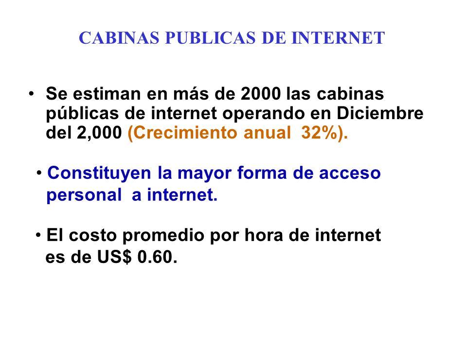 CABINAS PUBLICAS DE INTERNET Se estiman en más de 2000 las cabinas públicas de internet operando en Diciembre del 2,000 (Crecimiento anual 32%).