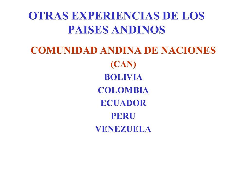 OTRAS EXPERIENCIAS DE LOS PAISES ANDINOS COMUNIDAD ANDINA DE NACIONES (CAN) BOLIVIA COLOMBIA ECUADOR PERU VENEZUELA