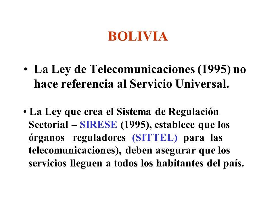 La Ley de Telecomunicaciones (1995) no hace referencia al Servicio Universal.