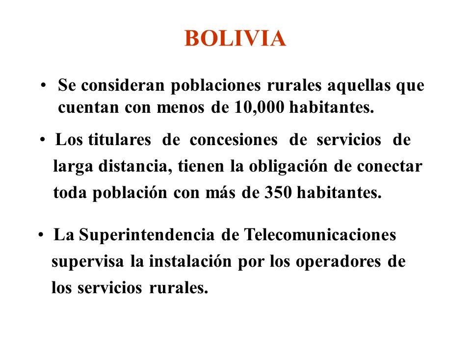 BOLIVIA Se consideran poblaciones rurales aquellas que cuentan con menos de 10,000 habitantes.