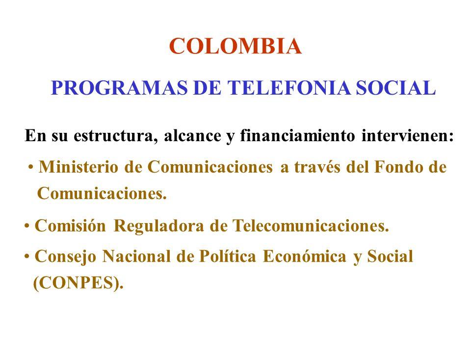 COLOMBIA PROGRAMAS DE TELEFONIA SOCIAL En su estructura, alcance y financiamiento intervienen: Ministerio de Comunicaciones a través del Fondo de Comunicaciones.