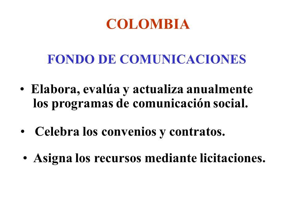 COLOMBIA FONDO DE COMUNICACIONES Elabora, evalúa y actualiza anualmente los programas de comunicación social.