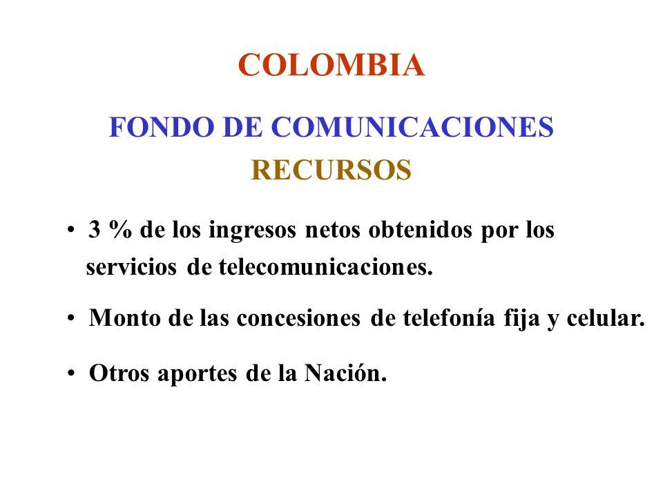 COLOMBIA FONDO DE COMUNICACIONES RECURSOS 3 % de los ingresos netos obtenidos por los servicios de telecomunicaciones.