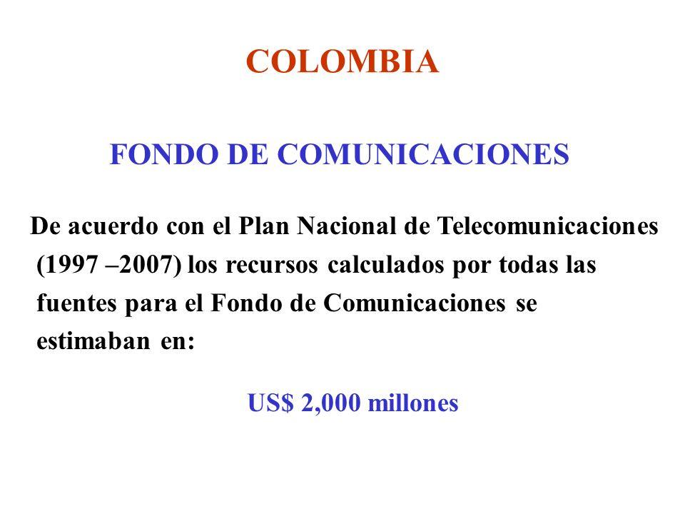 COLOMBIA FONDO DE COMUNICACIONES De acuerdo con el Plan Nacional de Telecomunicaciones (1997 –2007) los recursos calculados por todas las fuentes para el Fondo de Comunicaciones se estimaban en: US$ 2,000 millones