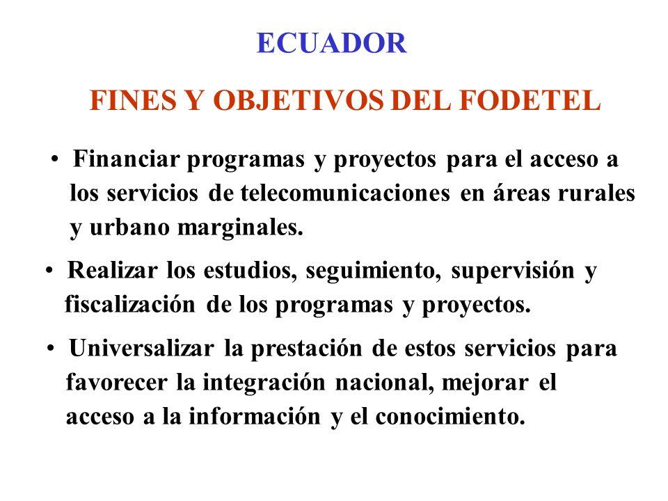 ECUADOR FINES Y OBJETIVOS DEL FODETEL Financiar programas y proyectos para el acceso a los servicios de telecomunicaciones en áreas rurales y urbano marginales.