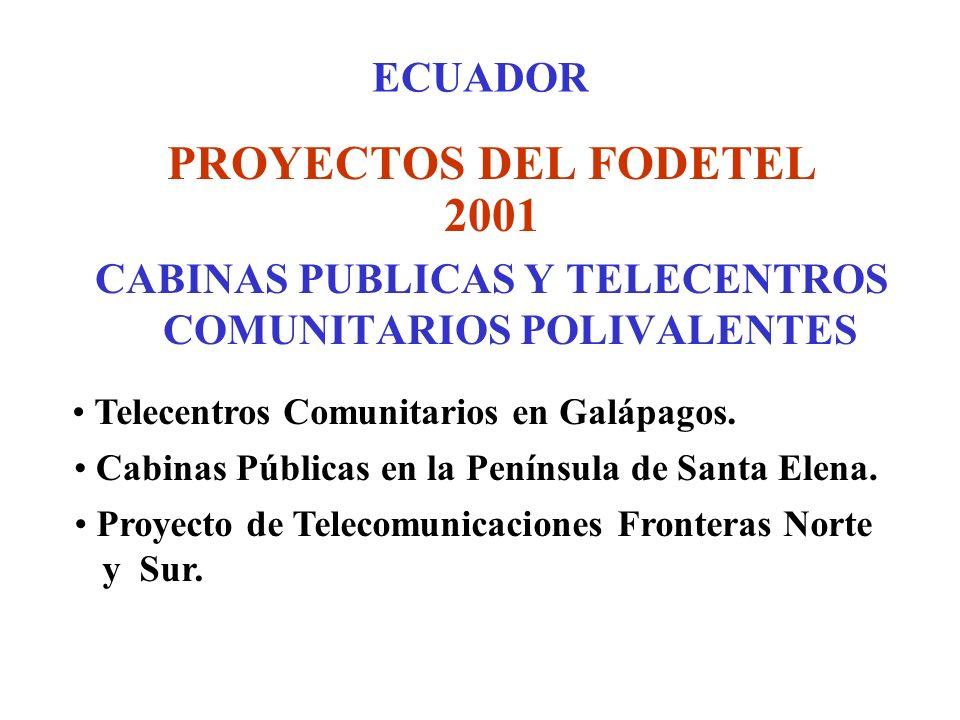 ECUADOR PROYECTOS DEL FODETEL 2001 CABINAS PUBLICAS Y TELECENTROS COMUNITARIOS POLIVALENTES Telecentros Comunitarios en Galápagos.
