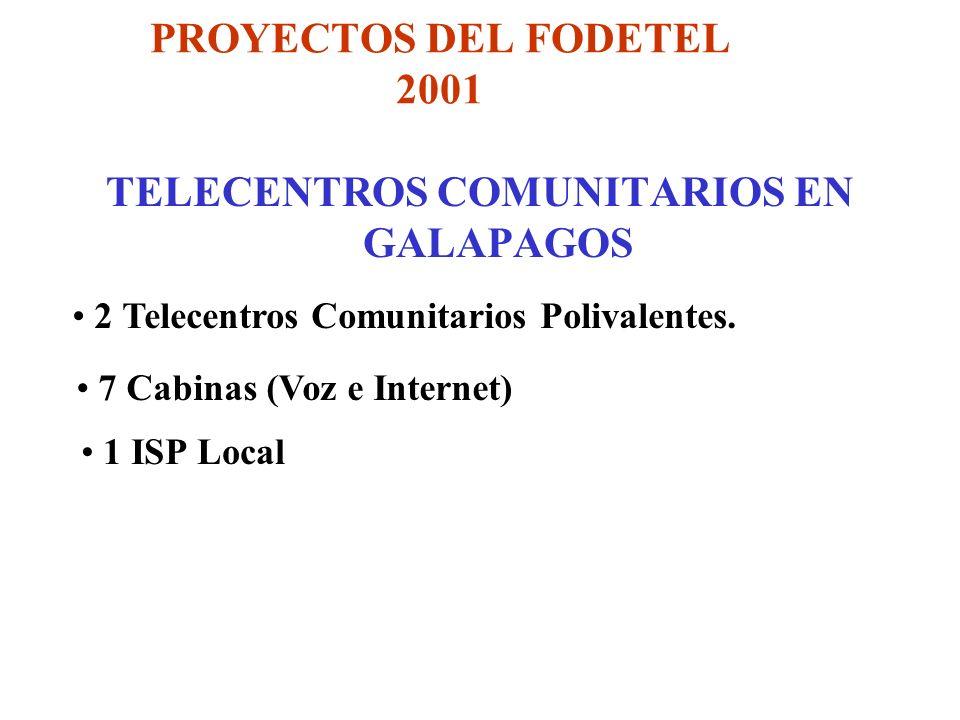 PROYECTOS DEL FODETEL 2001 TELECENTROS COMUNITARIOS EN GALAPAGOS 2 Telecentros Comunitarios Polivalentes.