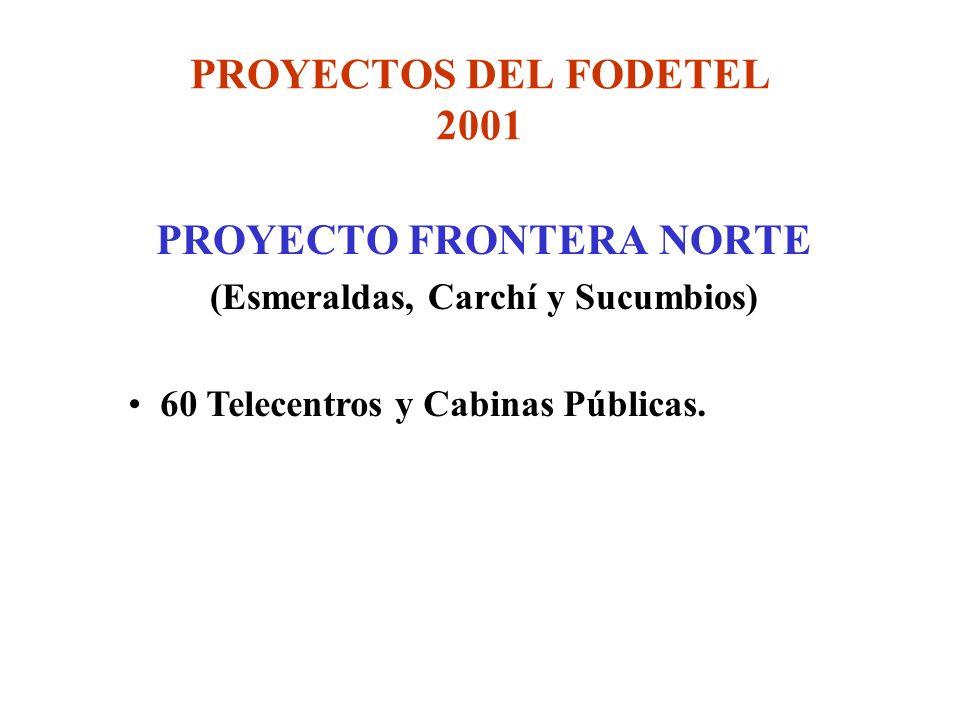 PROYECTOS DEL FODETEL 2001 PROYECTO FRONTERA NORTE (Esmeraldas, Carchí y Sucumbios) 60 Telecentros y Cabinas Públicas.