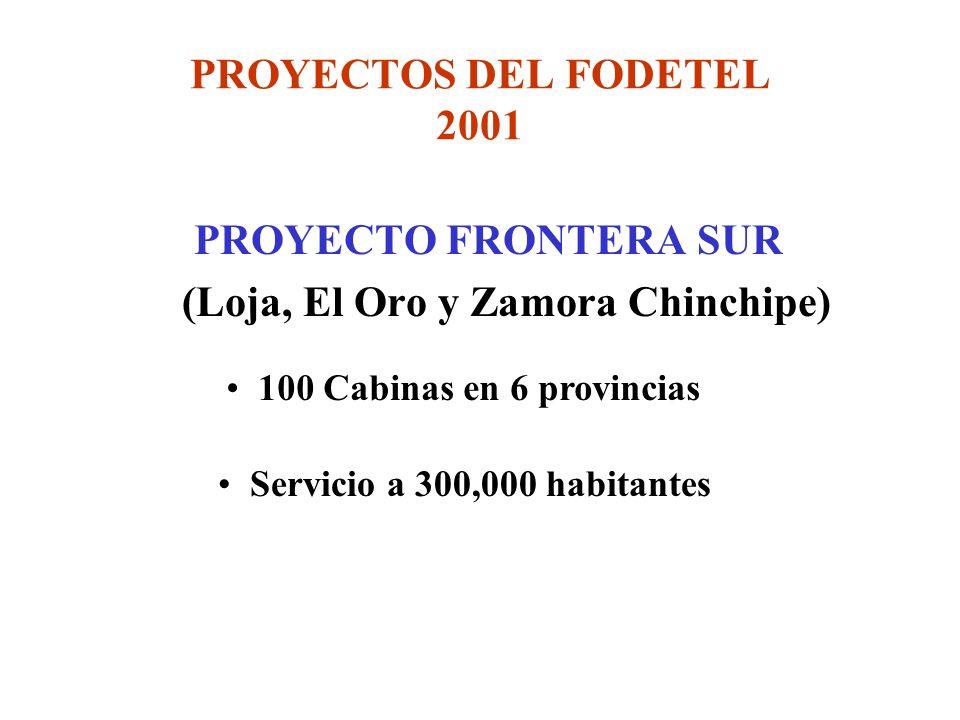 PROYECTOS DEL FODETEL 2001 PROYECTO FRONTERA SUR (Loja, El Oro y Zamora Chinchipe) 100 Cabinas en 6 provincias Servicio a 300,000 habitantes