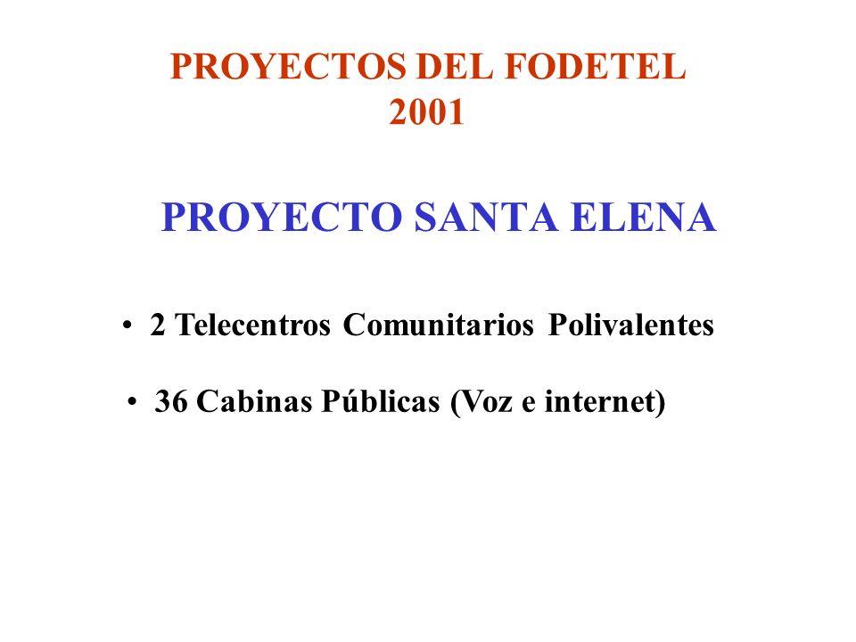 PROYECTOS DEL FODETEL 2001 PROYECTO SANTA ELENA 2 Telecentros Comunitarios Polivalentes 36 Cabinas Públicas (Voz e internet)