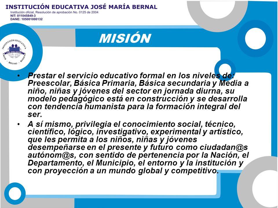 Prestar el servicio educativo formal en los niveles de: Preescolar, Básica Primaria, Básica secundaria y Media a niño, niñas y jóvenes del sector en j
