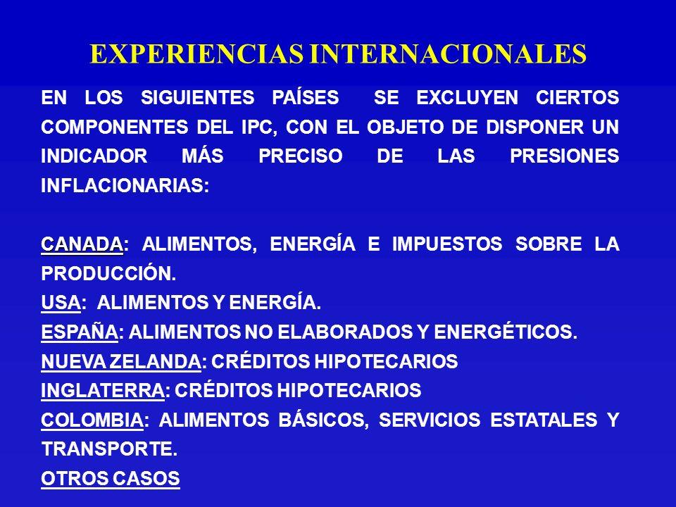 EXPERIENCIAS INTERNACIONALES EN LOS SIGUIENTES PAÍSES SE EXCLUYEN CIERTOS COMPONENTES DEL IPC, CON EL OBJETO DE DISPONER UN INDICADOR MÁS PRECISO DE LAS PRESIONES INFLACIONARIAS: CANADA CANADA: ALIMENTOS, ENERGÍA E IMPUESTOS SOBRE LA PRODUCCIÓN.