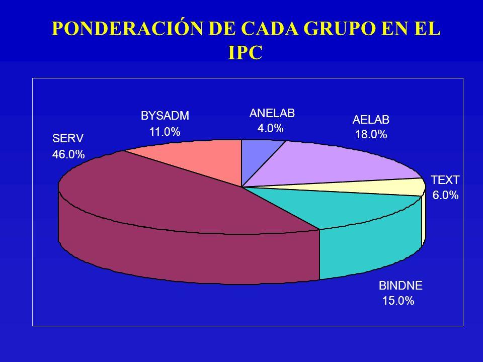 BYSADM 11.0% SERV 46.0% BINDNE 15.0% TEXT 6.0% AELAB 18.0% ANELAB 4.0% PONDERACIÓN DE CADA GRUPO EN EL IPC
