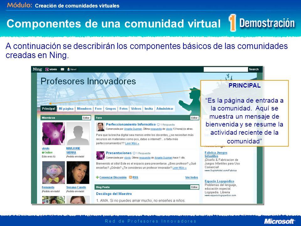 Creación de comunidades virtuales R e d d e P r o f e s o r e s I n n o v a d o r e s Componentes de una comunidad virtual A continuación se describir