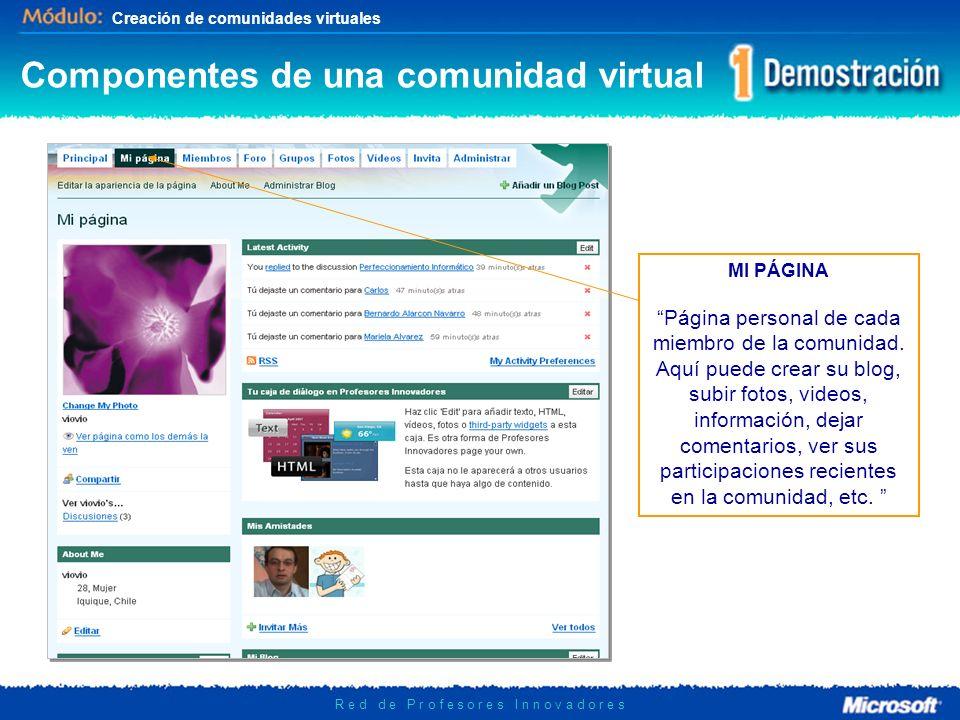 Creación de comunidades virtuales R e d d e P r o f e s o r e s I n n o v a d o r e s MI PÁGINA Página personal de cada miembro de la comunidad. Aquí