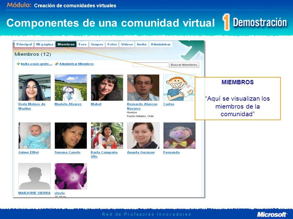 Creación de comunidades virtuales R e d d e P r o f e s o r e s I n n o v a d o r e s MIEMBROS Aquí se visualizan los miembros de la comunidad Compone