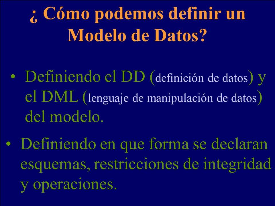 ¿ Cómo podemos definir un Modelo de Datos? Definiendo el DD ( definición de datos ) y el DML ( lenguaje de manipulación de datos ) del modelo. Definie