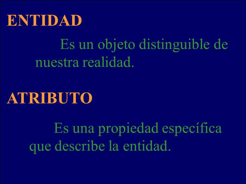 ENTIDAD Es un objeto distinguible de nuestra realidad. ATRIBUTO Es una propiedad específica que describe la entidad.