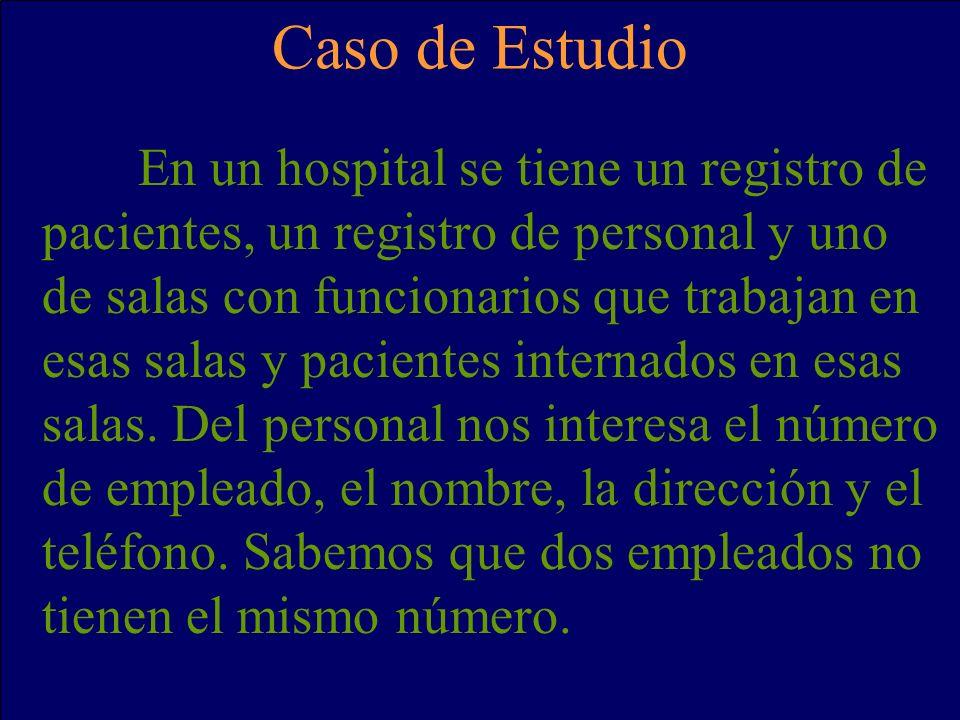 En un hospital se tiene un registro de pacientes, un registro de personal y uno de salas con funcionarios que trabajan en esas salas y pacientes internados en esas salas.