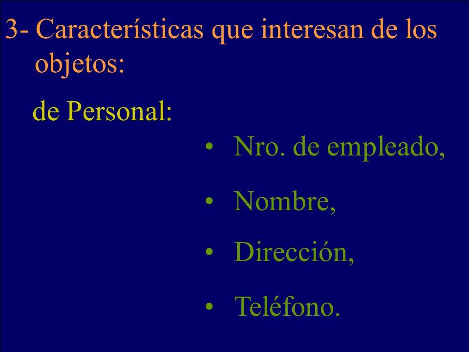 3- Características que interesan de los objetos: de Personal: Nro. de empleado, Nombre, Dirección, Teléfono.