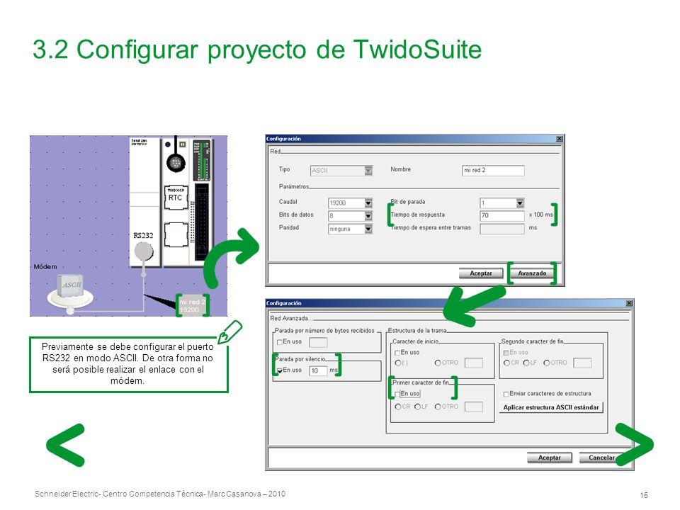 Schneider Electric 15 - Centro Competencia Técnica- Marc Casanova – 2010 3.2 Configurar proyecto de TwidoSuite Previamente se debe configurar el puerto RS232 en modo ASCII.
