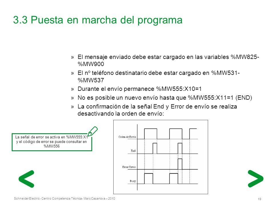 Schneider Electric 19 - Centro Competencia Técnica- Marc Casanova – 2010 3.3 Puesta en marcha del programa »El mensaje enviado debe estar cargado en las variables %MW825- %MW900 »El nº teléfono destinatario debe estar cargado en %MW531- %MW537 »Durante el envío permanece %MW555:X10=1 »No es posible un nuevo envío hasta que %MW555:X11=1 (END) »La confirmación de la señal End y Error de envío se realiza desactivando la orden de envío: La señal de error se activa en %MW555:X1 y el código de error se puede consultar en %MW556