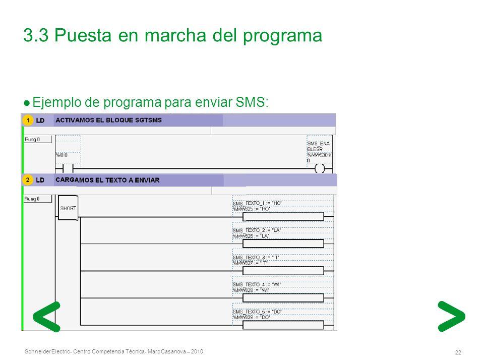 Schneider Electric 22 - Centro Competencia Técnica- Marc Casanova – 2010 3.3 Puesta en marcha del programa Ejemplo de programa para enviar SMS: