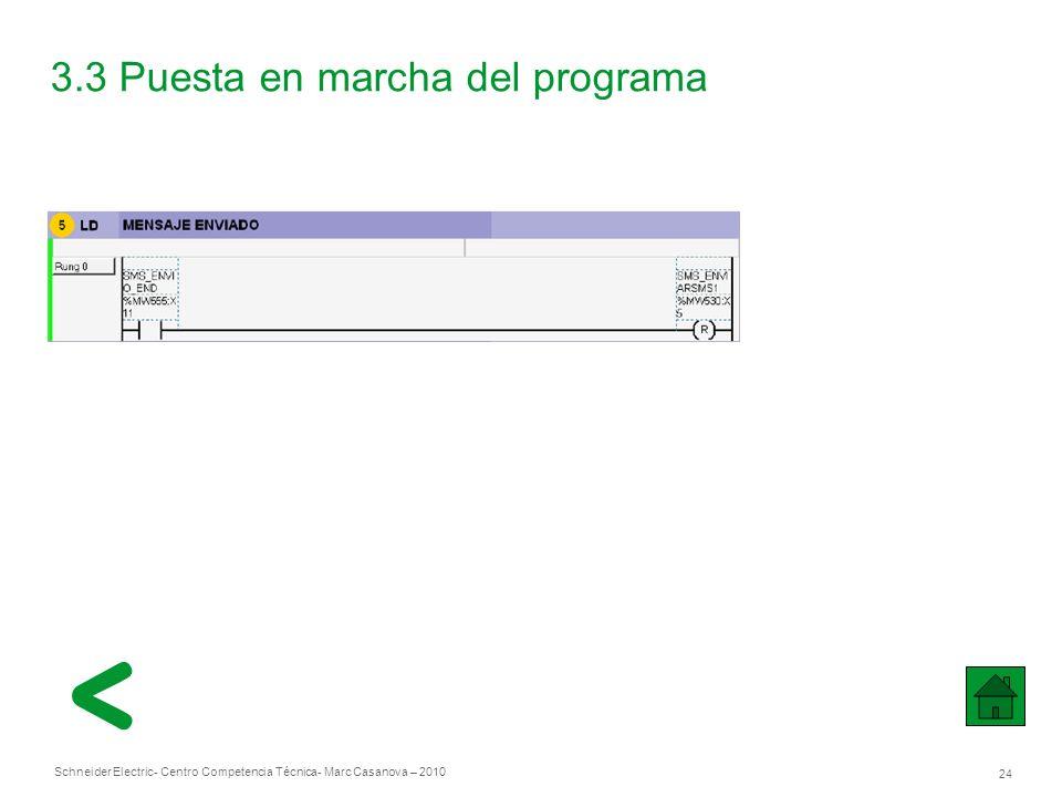 Schneider Electric 24 - Centro Competencia Técnica- Marc Casanova – 2010 3.3 Puesta en marcha del programa