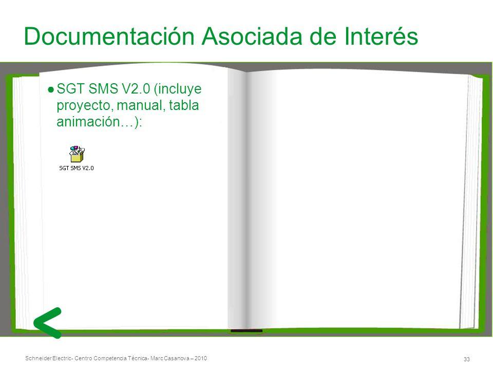 Schneider Electric 33 - Centro Competencia Técnica- Marc Casanova – 2010 Documentación Asociada de Interés SGT SMS V2.0 (incluye proyecto, manual, tabla animación…):