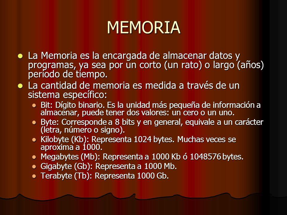 MEMORIA La Memoria es la encargada de almacenar datos y programas, ya sea por un corto (un rato) o largo (años) período de tiempo. La Memoria es la en