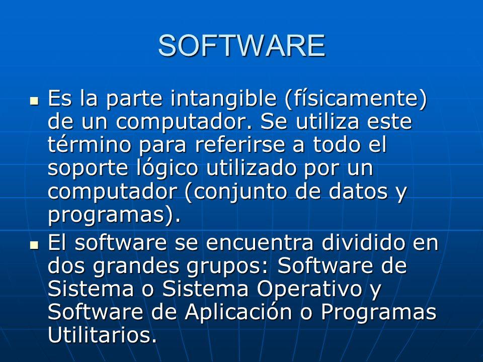 SOFTWARE Es la parte intangible (físicamente) de un computador. Se utiliza este término para referirse a todo el soporte lógico utilizado por un compu