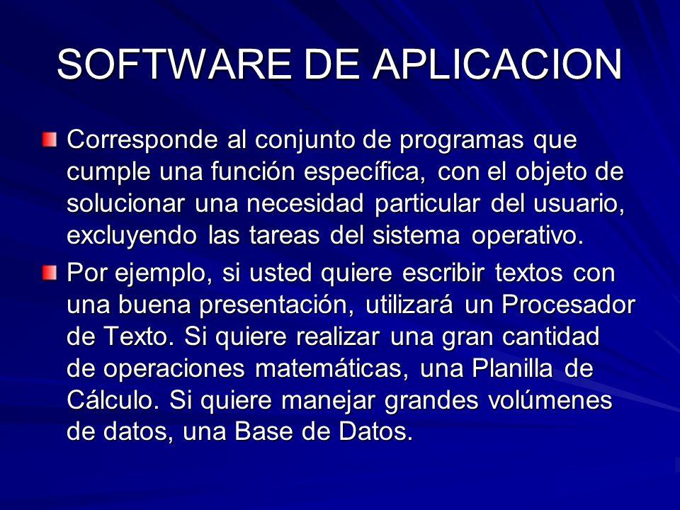 SOFTWARE DE APLICACION Corresponde al conjunto de programas que cumple una función específica, con el objeto de solucionar una necesidad particular de
