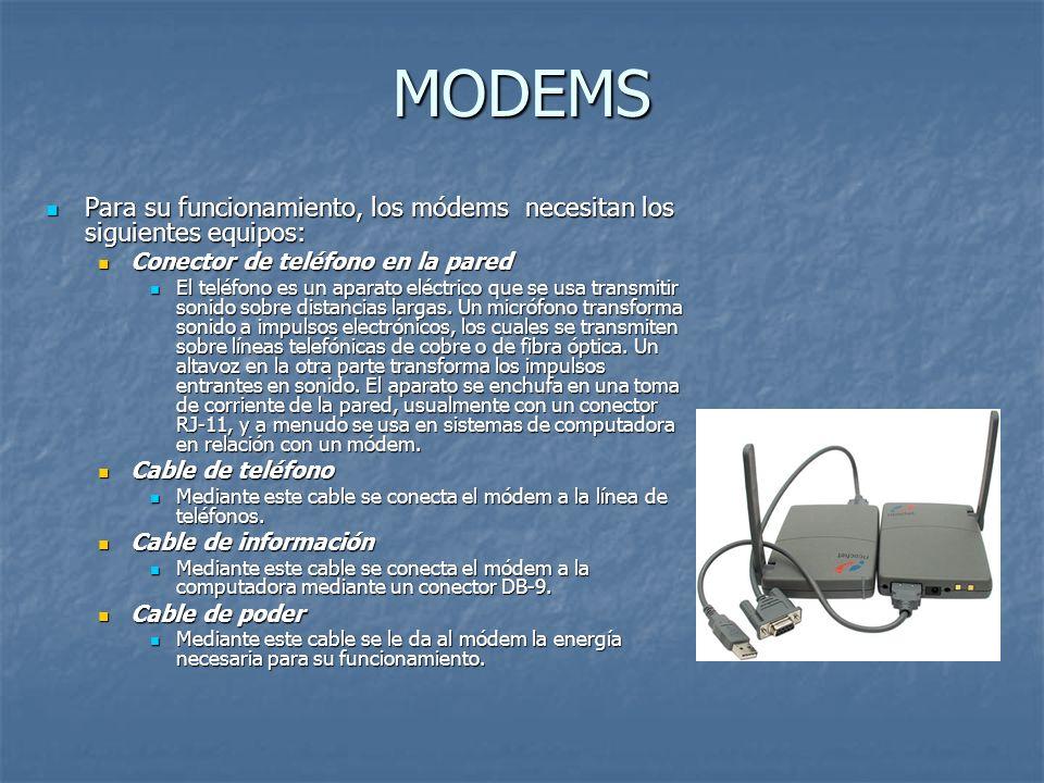 MODEMS Para su funcionamiento, los módems necesitan los siguientes equipos: Para su funcionamiento, los módems necesitan los siguientes equipos: Conec