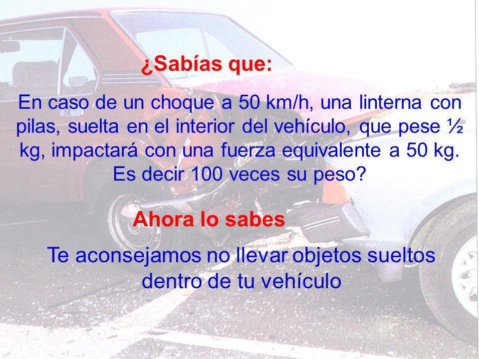 ¿Sabías que: En caso de un choque a 50 km/h, una linterna con pilas, suelta en el interior del vehículo, que pese ½ kg, impactará con una fuerza equiv