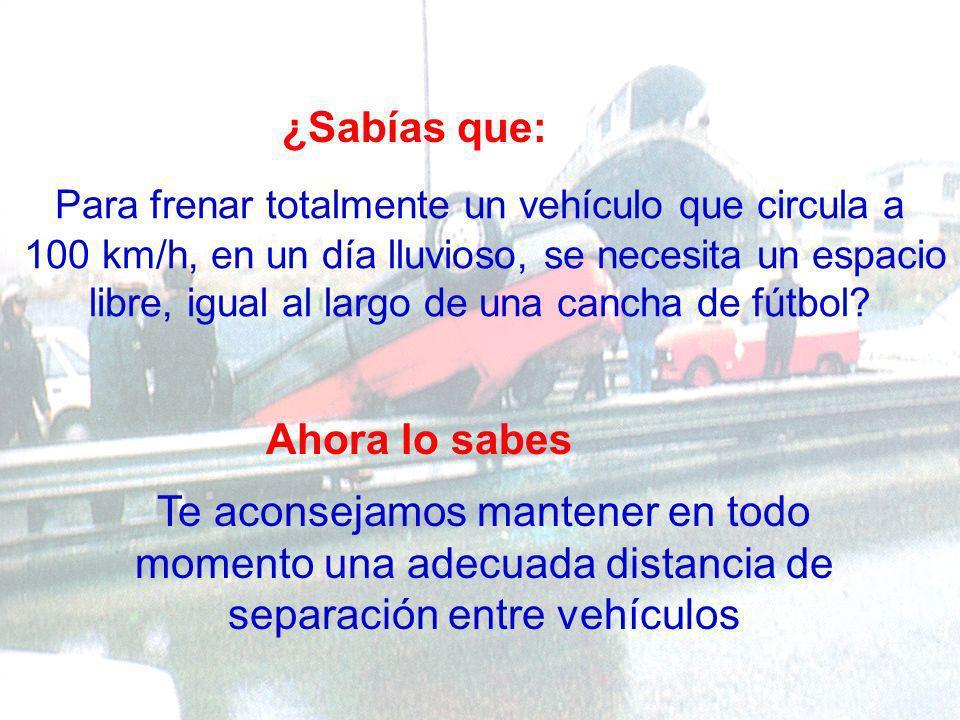 ¿Sabías que: Circulando con tu vehículo a 100 km/h, cada segundo recorres 28 metros.