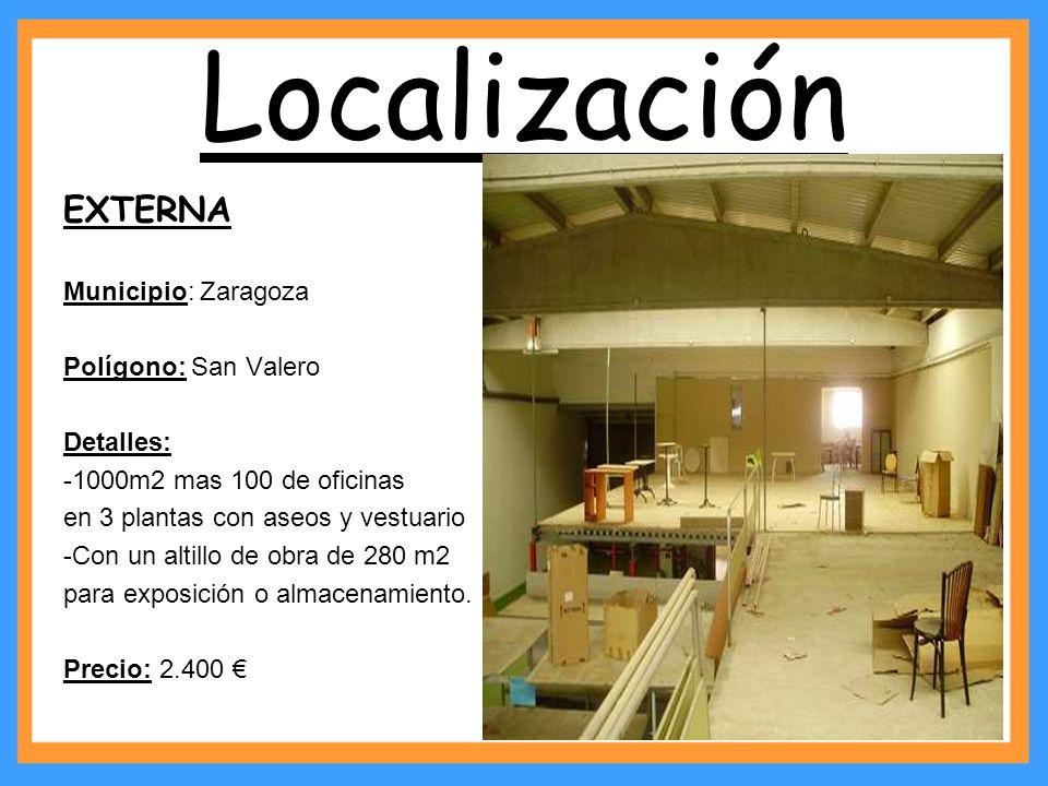 Localización EXTERNA Municipio: Zaragoza Polígono: San Valero Detalles: -1000m2 mas 100 de oficinas en 3 plantas con aseos y vestuario -Con un altillo