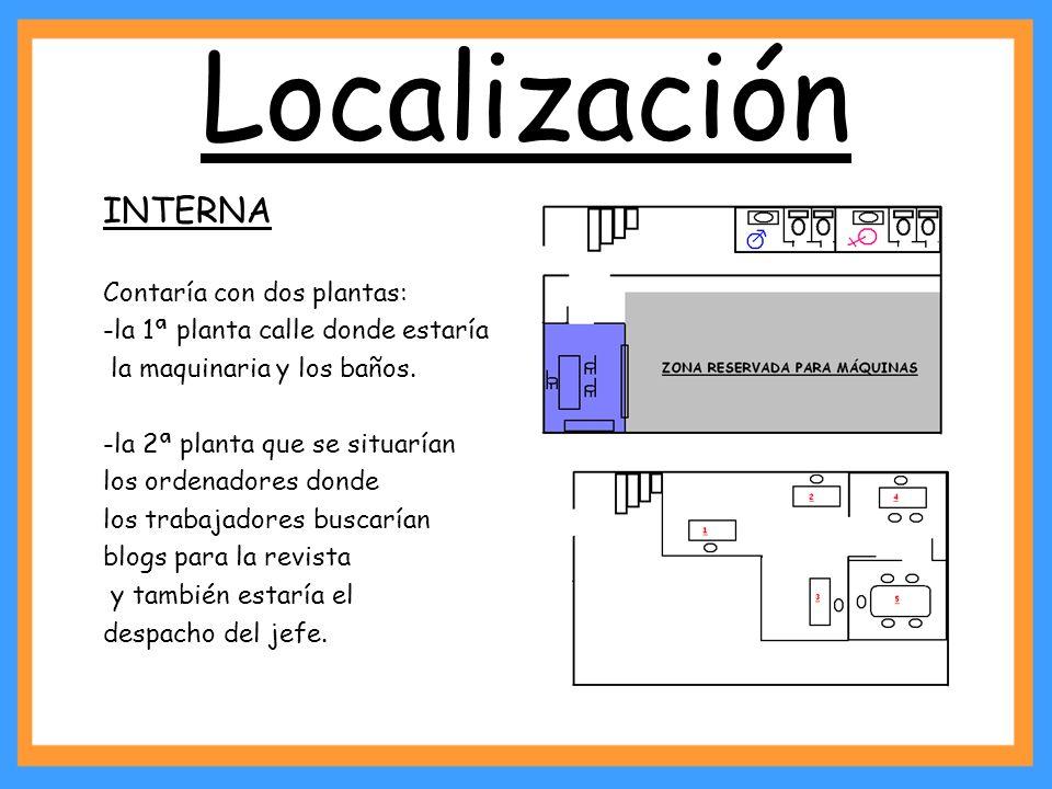 Localización INTERNA Contaría con dos plantas: -la 1ª planta calle donde estaría la maquinaria y los baños. -la 2ª planta que se situarían los ordenad