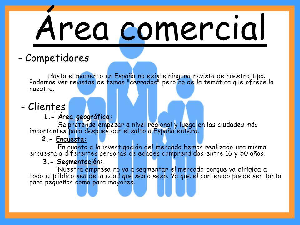 Área comercial - Competidores Hasta el momento en España no existe ninguna revista de nuestro tipo. Podemos ver revistas de temas