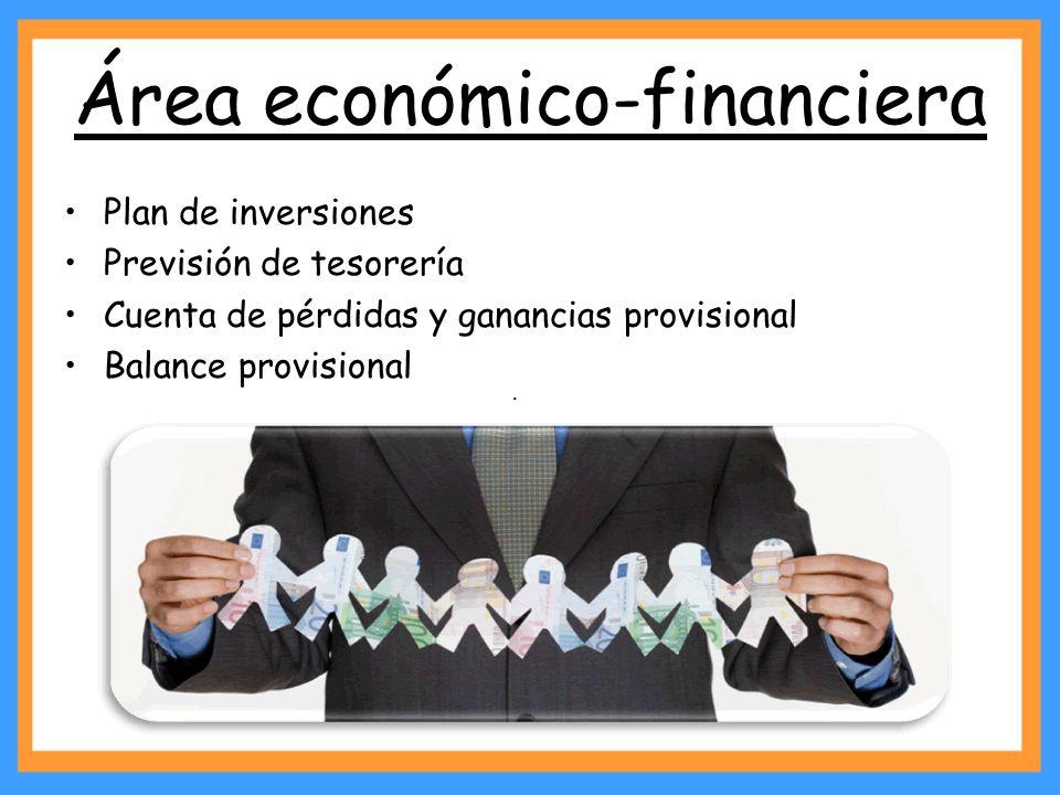 Área económico-financiera Plan de inversiones Previsión de tesorería Cuenta de pérdidas y ganancias provisional Balance provisional ·