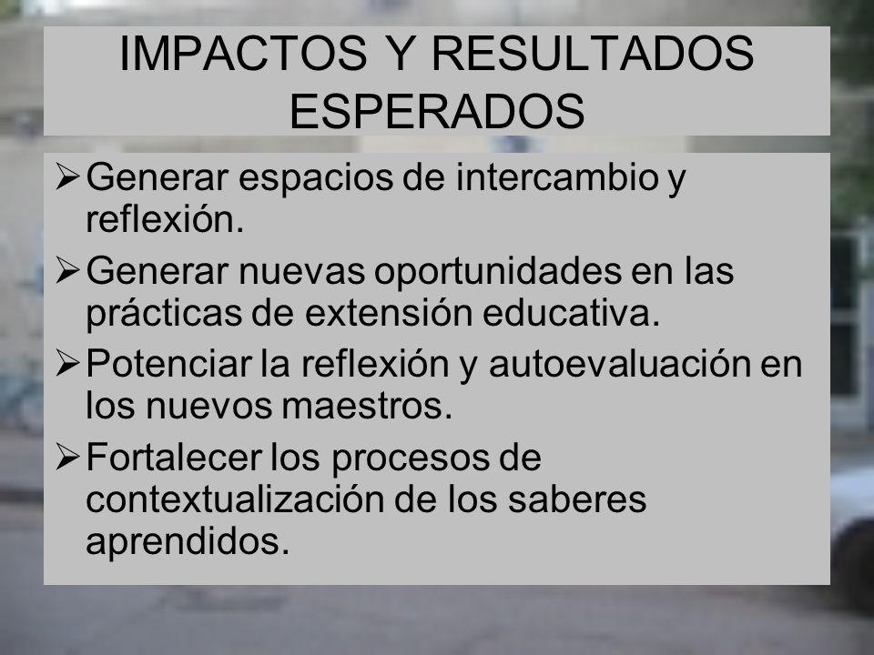 IMPACTOS Y RESULTADOS ESPERADOS Generar espacios de intercambio y reflexión. Generar nuevas oportunidades en las prácticas de extensión educativa. Pot