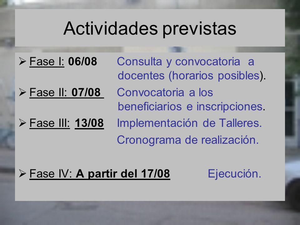 Actividades previstas Fase I: 06/08 Consulta y convocatoria a docentes (horarios posibles). Fase II: 07/08 Convocatoria a los beneficiarios e inscripc