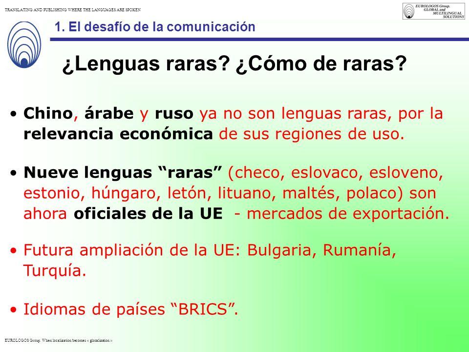 EUROLOGOS Group. When localization becomes « glocalization » TRANSLATING AND PUBLISHING WHERE THE LANGUAGES ARE SPOKEN 1.El desafío de la comunicación