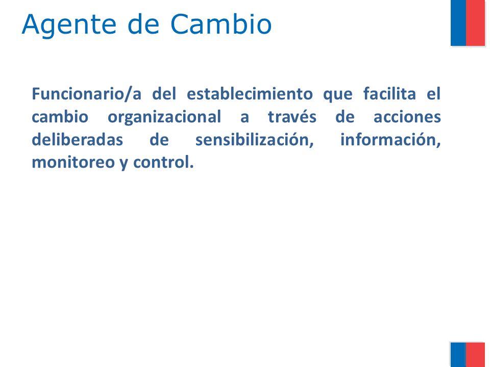 Agente de Cambio Funcionario/a del establecimiento que facilita el cambio organizacional a través de acciones deliberadas de sensibilización, informac