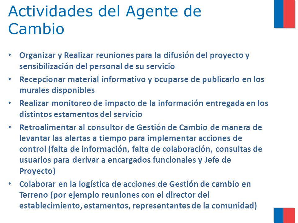 Actividades del Agente de Cambio Organizar y Realizar reuniones para la difusión del proyecto y sensibilización del personal de su servicio Recepciona