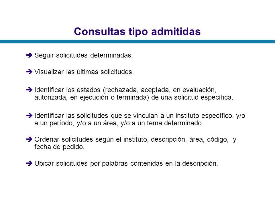 Consultas tipo admitidas Seguir solicitudes determinadas. Visualizar las últimas solicitudes. Identificar los estados (rechazada, aceptada, en evaluac
