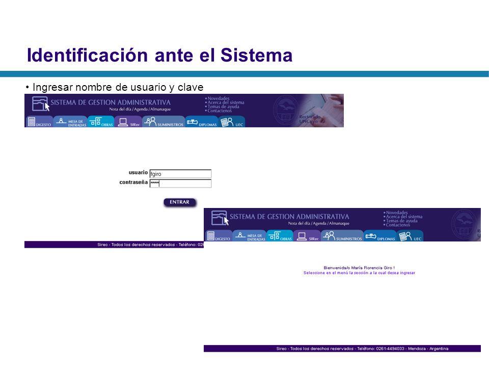Identificación ante el Sistema Ingresar nombre de usuario y clave