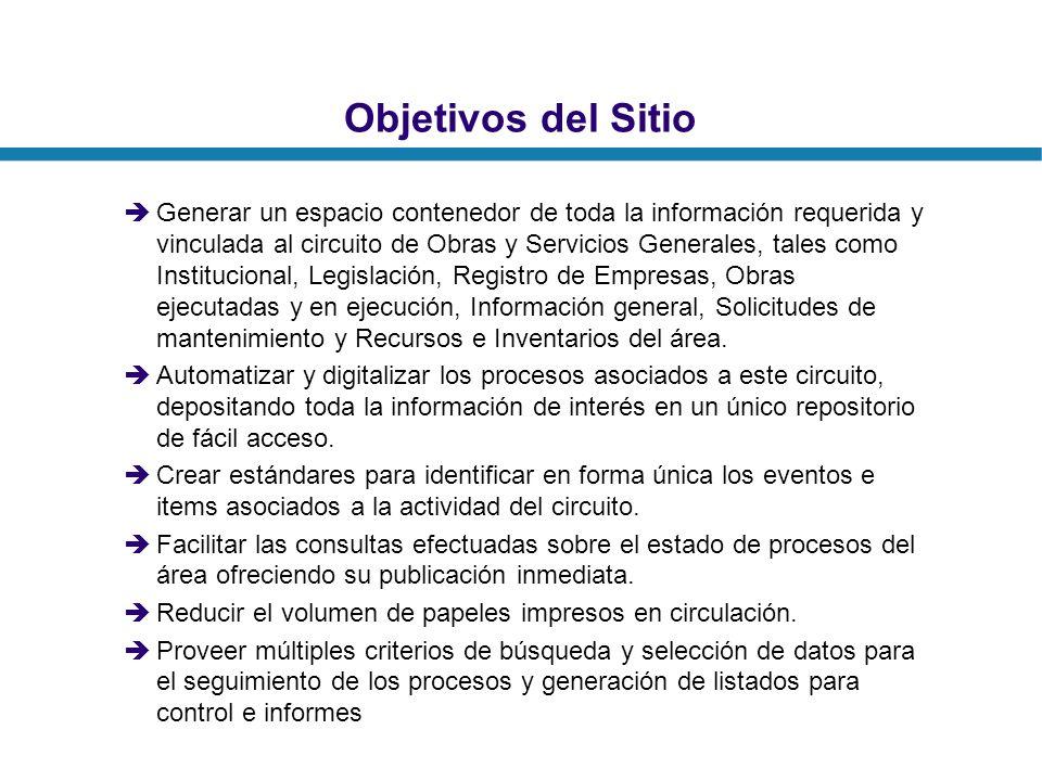 Objetivos del Sitio Generar un espacio contenedor de toda la información requerida y vinculada al circuito de Obras y Servicios Generales, tales como