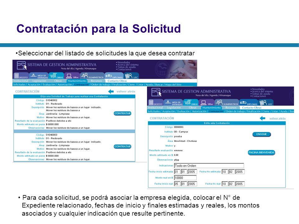 Contratación para la Solicitud Seleccionar del listado de solicitudes la que desea contratar Para cada solicitud, se podrá asociar la empresa elegida,