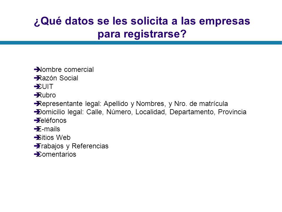 ¿Qué datos se les solicita a las empresas para registrarse? Nombre comercial Razón Social CUIT Rubro Representante legal: Apellido y Nombres, y Nro. d